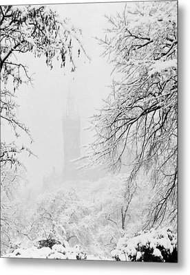 Kelvingrove Park In The Snow, 1955 Metal Print by British School