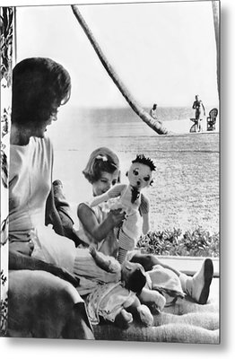 Kennedy Family At Palm Beach Metal Print by Underwood Archives