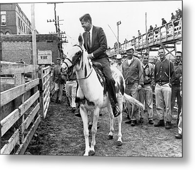 Kennedy Rides A Mule Metal Print by Underwood Archives