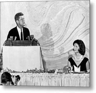 Kennedy Speaks At Fundraiser Metal Print by Underwood Archives