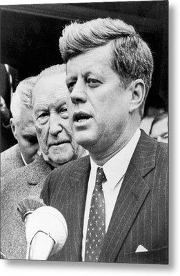 Kennedy With Konrad Adenauer Metal Print