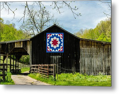 Kentucky Barn Quilt - Carpenters Wheel Metal Print by Mary Carol Story