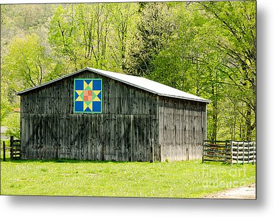 Kentucky Barn Quilt - Eight-pointed Star Metal Print by Mary Carol Story