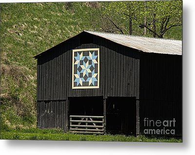 Kentucky Barn Quilt - Snow Crystals Metal Print by Mary Carol Story