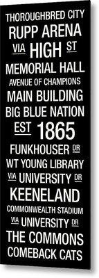 Kentucky College Town Wall Art Metal Print