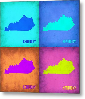 Kentucky Pop Art Map 1 Metal Print by Naxart Studio