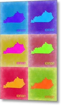 Kentucky Pop Art Map 2 Metal Print by Naxart Studio