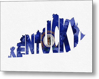 Kentucky Typographic Map Flag Metal Print by Ayse Deniz