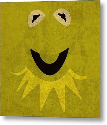 Kermit The Frog Vintage Minimalistic Illustration On Worn Distressed Canvas Series No 001 Metal Print by Design Turnpike