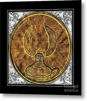 Kerosene Lamp - Brass Etching Metal Print by Barbara Griffin