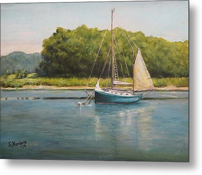 Ketch At Anchor Metal Print by Sandra Nardone