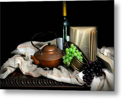 Kettle With Grapes Metal Print
