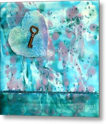 Key To My Heart Encaustic Metal Print by Pattie Calfy