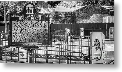 Key West African Cemetery 7 - Key West - Panoramic - Black And White Metal Print by Ian Monk
