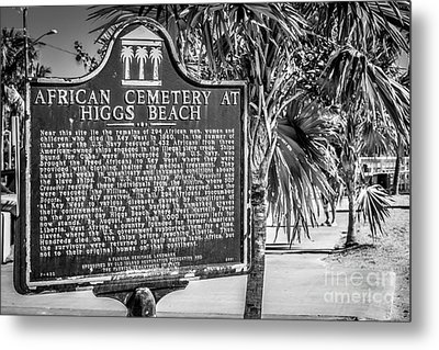 Key West African Cemetery Sign Landscape - Key West - Black And White Metal Print by Ian Monk