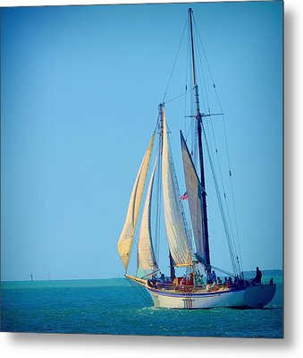 Metal Print featuring the photograph Key West Sailing by Pamela Blizzard