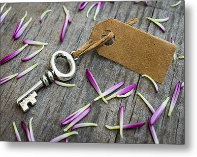 Key With A Label Metal Print by Aged Pixel