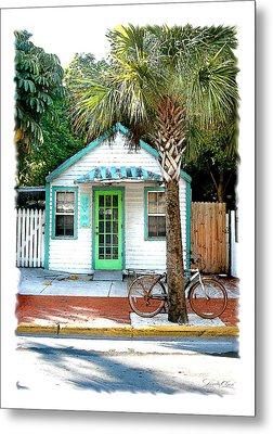 Keys House And Bike Metal Print by Linda Olsen