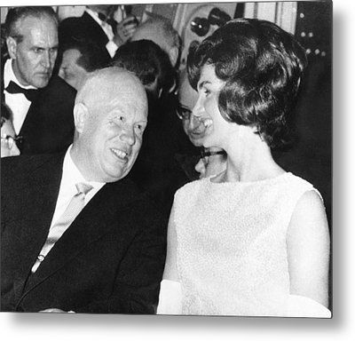 Khrushchev And Jackie Kennedy Metal Print by Underwood Archives