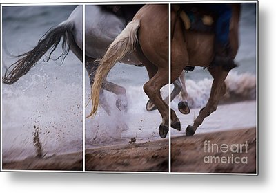 Kicking Up The Sand Metal Print by Mary Lou Chmura