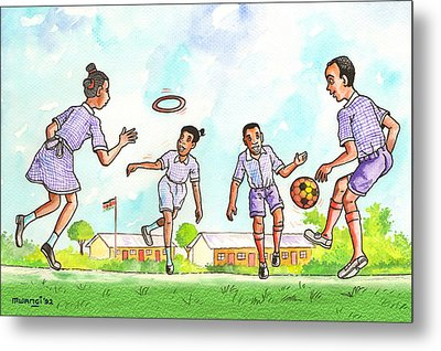 Kids At Play Metal Print by Anthony Mwangi