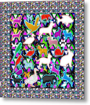 Kids Count The Birds Butterflies N Animals Circle Artistic Navin Joshi Rights Managed Images Graphic Metal Print by Navin Joshi