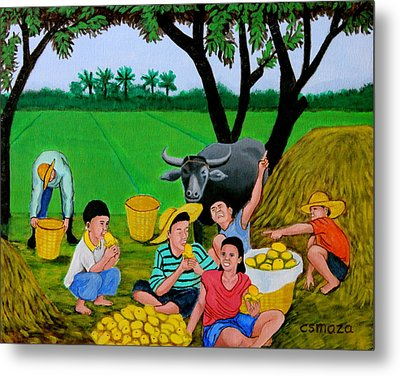 Kids Eating Mangoes Metal Print
