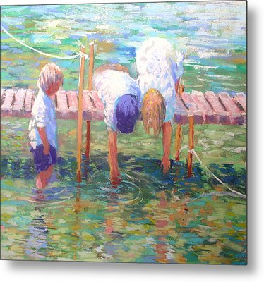Kids On The Jetty Metal Print by Jackie Simmonds