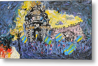 Kiev Burning Metal Print by Marwan George Khoury