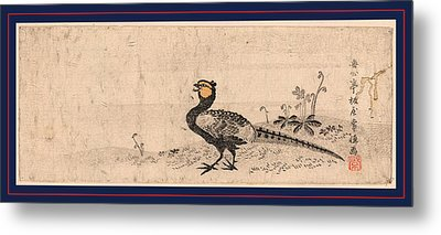 Kiji, Pheasant. Print Shows A Pheasant Facing Left Metal Print by Japanese School