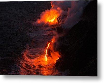 Kilauea Volcano Lava Flow Sea Entry - The Big Island Hawaii Metal Print by Brian Harig
