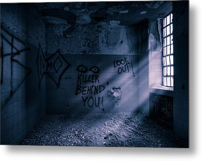 Metal Print featuring the photograph Killer Behind You - Abandoned Hospital Asylum by Gary Heller