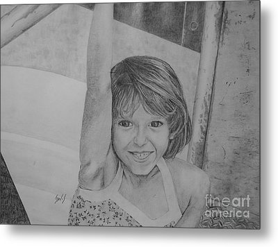 Kimberly In Black And White Metal Print