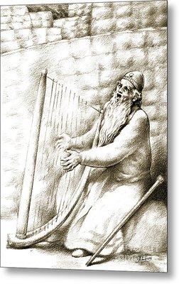 Metal Print featuring the drawing King David by Alex Tavshunsky