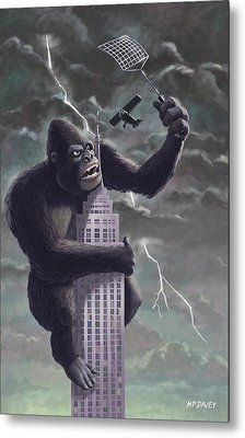 King Kong Plane Swatter Metal Print by Martin Davey