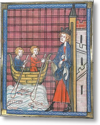 King Louis Ix Sails For France Metal Print by British Library