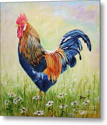 Metal Print featuring the painting King Of The Barnyard by Jimmie Bartlett