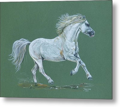 Metal Print featuring the pastel Take Me To The Green Pasture by Janina  Suuronen