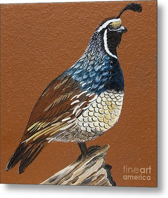Metal Print featuring the painting King Quail by Jennifer Lake