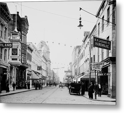 King Street In Charleston South Carolina Circa 1910 Metal Print by Mountain Dreams