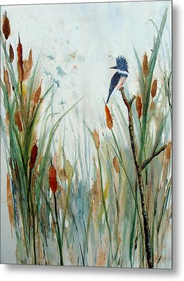 Kingfisher Dragonflies And Cattails Metal Print by Susan Duda