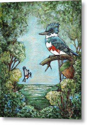 Metal Print featuring the painting Kingfishers Cove by VLee Watson