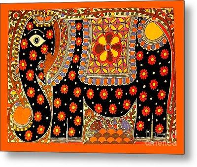 King's Elephant-madhubani Paintings Metal Print