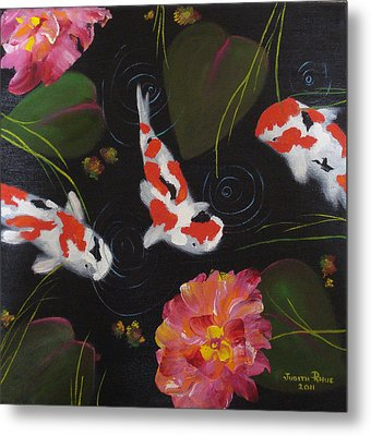 Metal Print featuring the painting Kippycash Koi by Judith Rhue