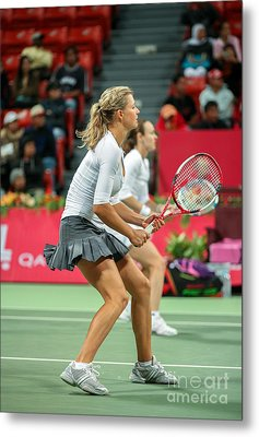 Kirilenko And Hingis In Doha Metal Print by Paul Cowan