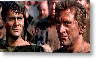 Kirk Douglas And Tony Curtis In The Film Spartacus Metal Print