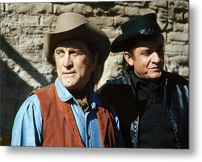 Metal Print featuring the photograph Kirk Douglas Johnny Cash A Gunfight  Old Tucson Arizona 1971 by David Lee Guss