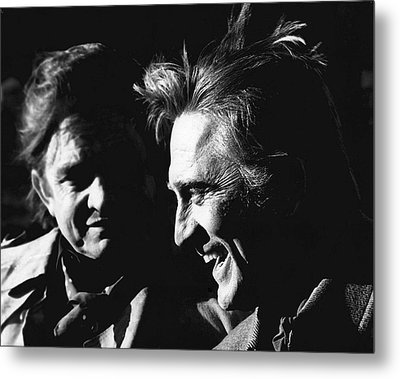 Metal Print featuring the photograph Kirk Douglas Laughing Johnny Cash Old Tucson Arizona 1971 by David Lee Guss