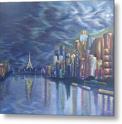 Kiss Of Paris Metal Print by Mary Jo Jung