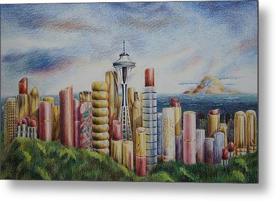 Kiss Of Seattle Metal Print by Mary Jo Jung